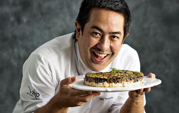 O chef Viko Tangoda com sua terrine de queijo de cabra