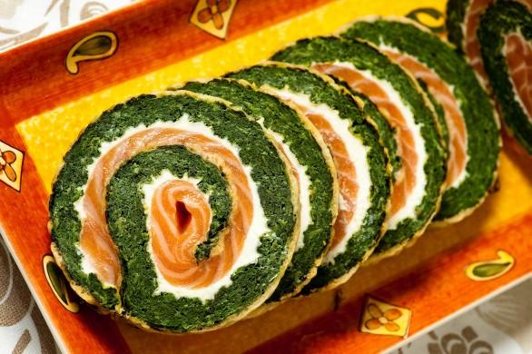 Rocambole de espinafre e salmão (foto: divulgação/ Filico)
