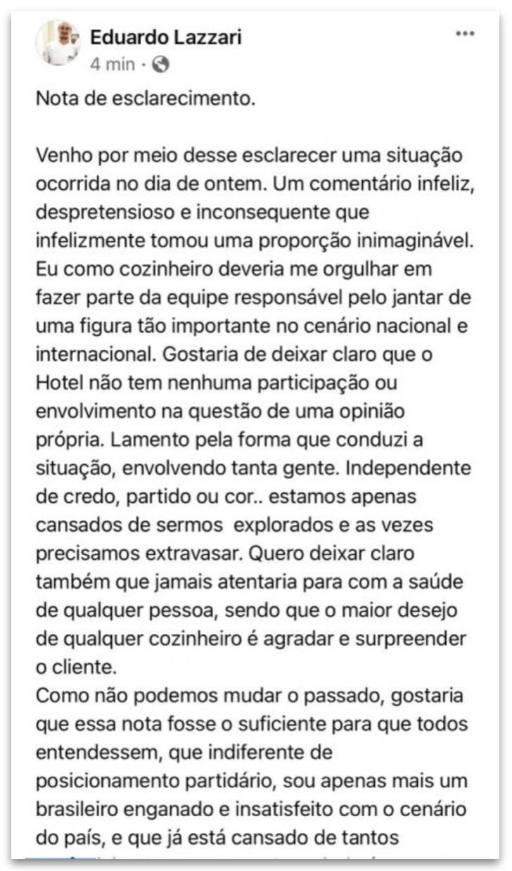 Chef reclama de cozinhar para Bolsonaro e é preso pela PF